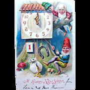 International Antique New Year Postcard—Gnomes, Clock, Good Luck Symbols