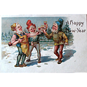 1907 New Year's Postcard ~ Gnomes Toasting in the New Year