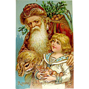 Beautiful German Christmas Postcard - Saint Nicholas, Boy, Heavy Gold