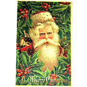 GEL Christmas Postcard ~ Santa Claus, Holly, Heavy Gold