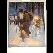 St.Nicholas & Angel Art Size Christmas Postcard c. 1930 ~ Gorgeous!