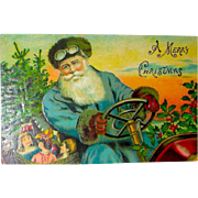 German Christmas Postcard - Santa Claus - Antique Auto - Toys