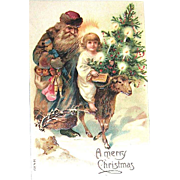 Slavic Saint Nicholas Christmas Postcard ~ Christ Child Riding a Sheep