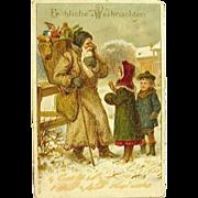 """Antique """"Froliche Weihnachten"""" Santa Claus Postcard ~ Microbeaded Glassine Decoration"""