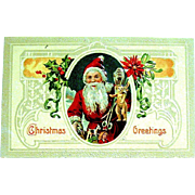 Beautiful Glossy Embossed Christmas Postcard ~ Cameo of Santa Claus w Toys