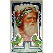 Gorgeous German Art Deco Santa Claus Portrait Postcard