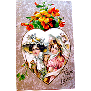 Winsch Satin Heart Valentine Postcard ~ Beautiful Ladies