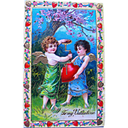 Gorgeous German GEL Valentine Postcard—Cupids Inflating Heart