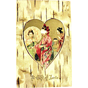 Unique Undivided Valentine Postcard--Geishas in Gold Heart