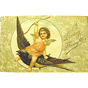 Cherub Riding Barn Swallow --Unused  Winsch Valentine Postcard