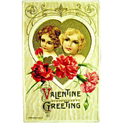 Beautiful Winsch Valentine Postcard--Pretty Girls, Gold Heart, Red Carnations