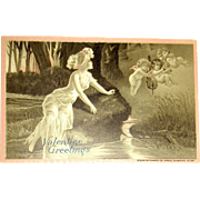 "Tuck & Sons ""IDYLS"" Fantasy Valentine's Day Postcard"