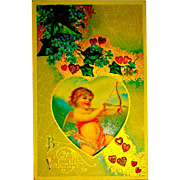 Winsch Valentine Postcard ~ Cupid, Spider Web, Flowers, Gilt