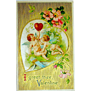 German 1908 Valentine Postcard ~ Angels, Flowers, Large Heart