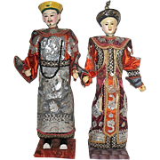 Antique Chinese Mandarin Emperor & Empress Opera Dolls ~ Immaculate Condition