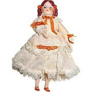Antique Doll House Bisque Girl/Daughter - Beautiful Silk Dress