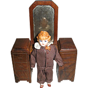 Vintage Doll House Bisque Boy/Son - Exceptional Brown Silk Outfit