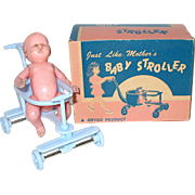 Vintage Store Stock Blue Baby Stroller, Excellent Box, Old Plastic Baby