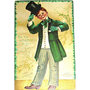 Signed Clapsaddle Saint Patrick's Day Postcard ~ Irish Lad