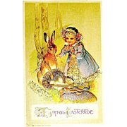 Winsch Easter Postcard ~ Rabbits - Girl ~ Egg Basket - Iridescent Glass Decor