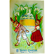Fantasy Easter Postcard ~ Dressed Rabbits Move Huge Egg