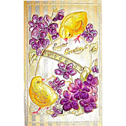Beautiful German Silk, Satin & Felt Decorated Easter Postcard