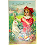 Delightful Antique Easter Postcard—Girl Finds Easter Rabbit w Nest of Eggs