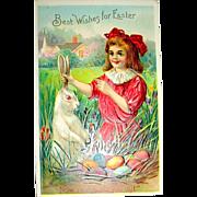 Delightful Antique Easter Postcard—Girl Finds Easter Rabbit w Nest of Eggs