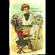 Fantasy Easter Postcard— Dressed Rabbit Paints Egg
