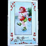 Whitney Valentine Postcard, Skater Plays Heart Shaped Banjo