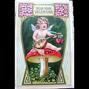 Fantasy German Valentine ~ Cupid, Lute, Magic Mushroom
