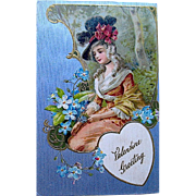 Winsch Valentine Postcard ~ Beautiful Lady, Silver Background