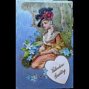 Winsch Valentine Postcard ~ Beautiful Lady, Silver Background