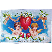 German 1910 Valentine Postcard ~ Angelic Girl & Boy, Heavenly Scene