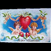 German 1910 Valentine Postcard ~ Angelic Girl & Boy, Heavenly Scene