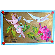 Beautiful Victorian Inspired Valentine Postcard ~ Tiny Cupid, Doves, Rose, Gold