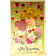 Winsch Valentine Postcard ~ Schmucker Designed Glamorous Lady Graphics