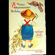 Clapsaddle IAP Washington's Birthday Postcard ~ Boy, Axe, Cherry Tree