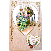 Winsch Valentine Postcard—1700's Aristocrats Portrait on Silk Heart
