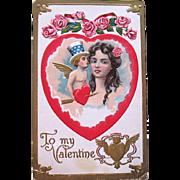 Rare German Valentine Postcard, U.S.A. Cupid and Pretty Girl