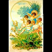 German Easter Postcard - Sheep, Cherubs, Beautiful Eggs