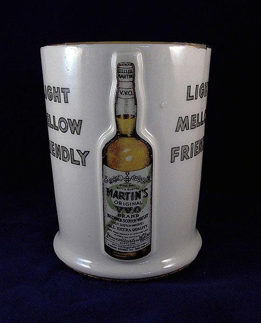 Vintage Martin's Original V.V.O. Brand Whiskey Ceramic Counter Display Holder
