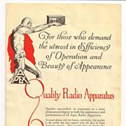 Apex Electric Mfg. Co. Radio and Apparatus Brochure Art Deco