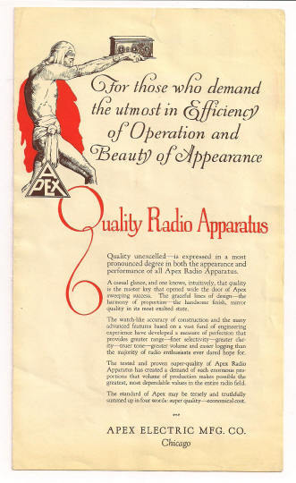 Apex Electric Mfg. Co. Radio and Apparatus Brochure Art Deco