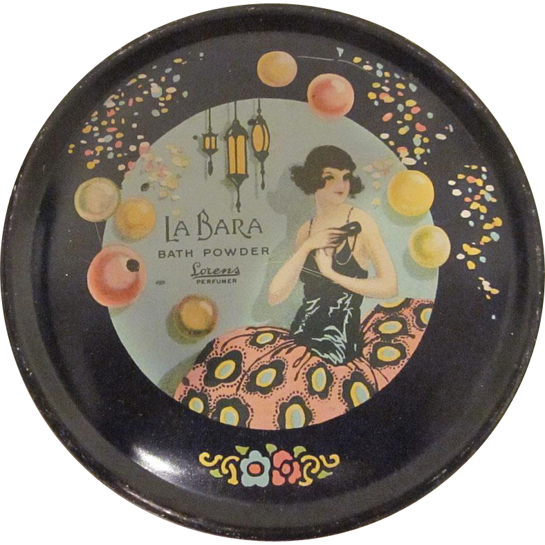 La Bara Bath Powder Lorens Perfumer Zanol Art Deco Tin