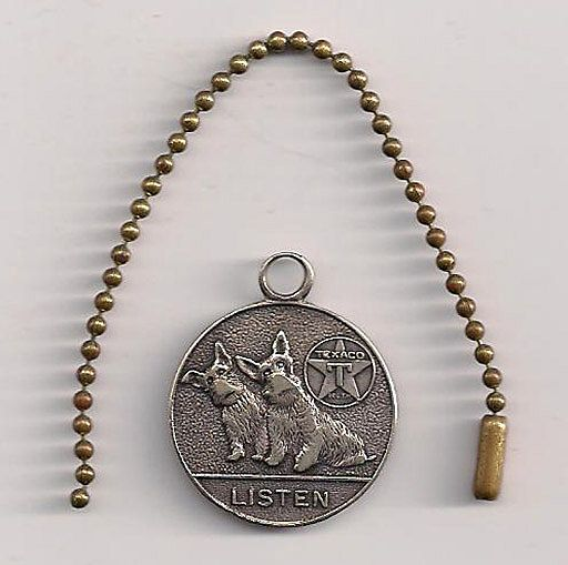 Texaco Keychain 2 Scottish Terriers 'Listen' 1930s Hard to Find!!