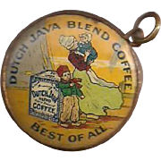 Dutch Java Coffee 2 Sided Celluloid Pendant