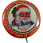 Tin Litho 'Yank Jr. Garments' Santa Pinback