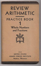 'Review Arithmetic Practice Book 1' United States Armed Forces Institute paper back Book - Red Tag Sale Item
