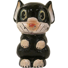 Vintage 1920s Heavy Glass Perfume Bottle Ooloo the Cat from Bonzo the Dog Comic London